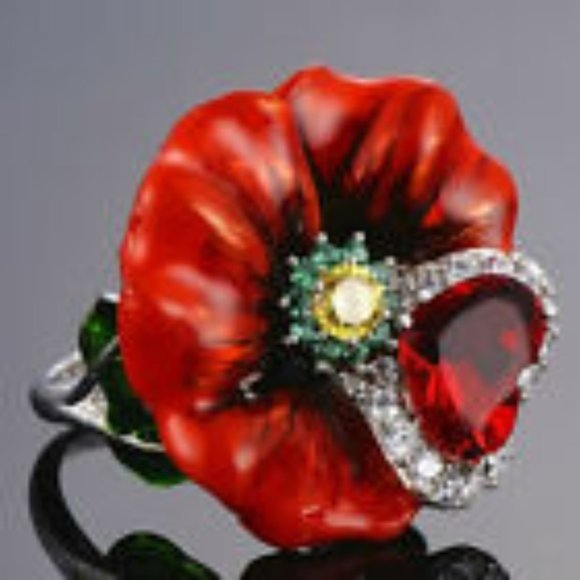 Jewelry - Red Tulip Ring Size 10